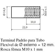 Terminal Padrão para Tubo; Flexível de Ø externo = 12 mm; Rosca fêmea M10 x 1mm