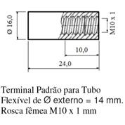 Terminal Padrão para Tubo; Flexível de Ø externo = 14 mm; Rosca fêmea M10 x 1mm