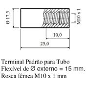 Terminal Padrão para Tubo; Flexível de Ø externo = 15 mm; Rosca fêmea M10 x 1mm